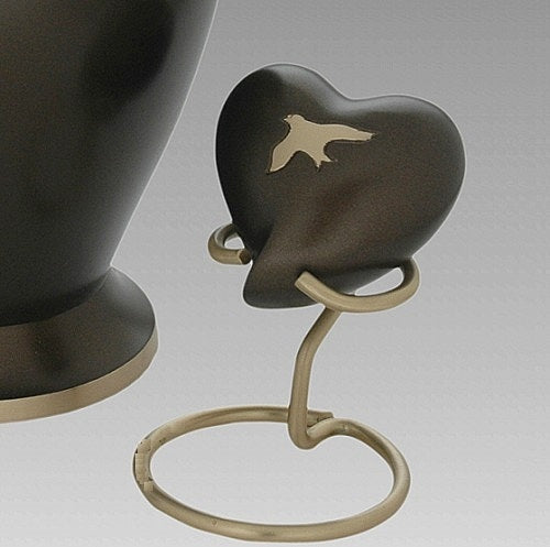 Birds In Flight Cremation Urn, Brass Urn in Brown for Human Ashes