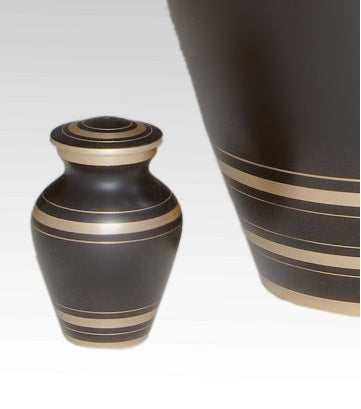 Elegant Brown Urn for Ashes with 6 Golden Circle Bands