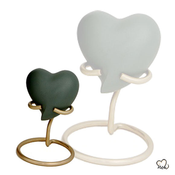 Green Band Heart Brass Cremation Memorial Keepsake
