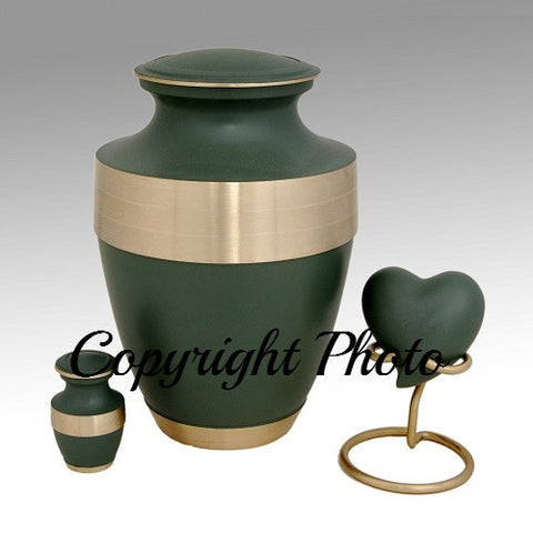 Green Band Brass Cremation Urn