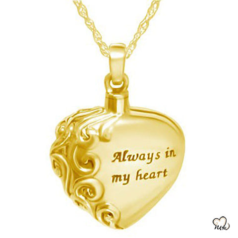 Always in My Heart Cremation Jewelry - Gold Plated