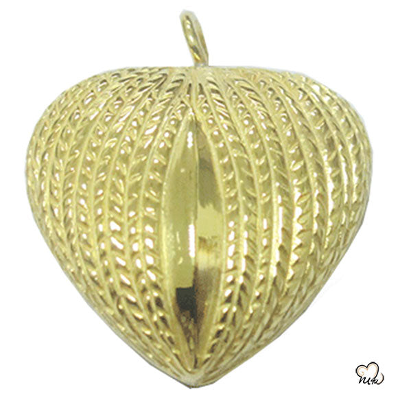 Wing on Heart Cremation Jewelry - Gold Plated