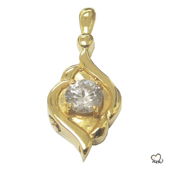 Diamond Ornament Cremation Jewelry - Gold Plated