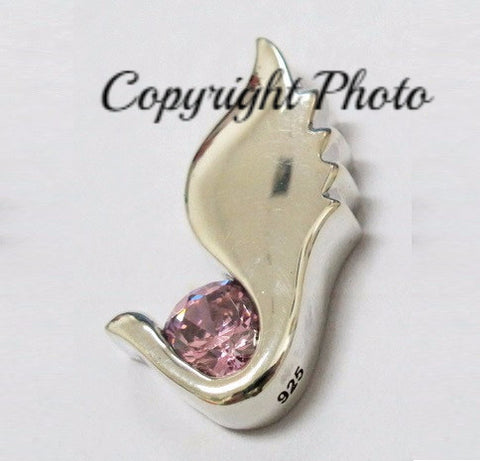 Diamond Wings Cremation Jewelry Silver Pendant For Ashes in Pink