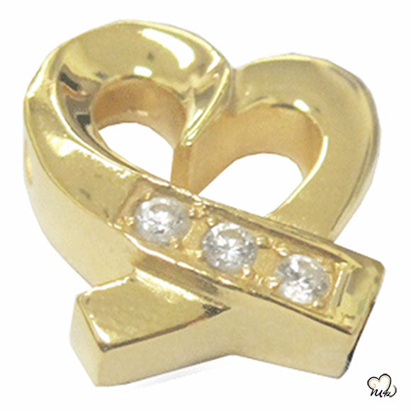 Caring Heart Cremation Jewelry - Gold Plated
