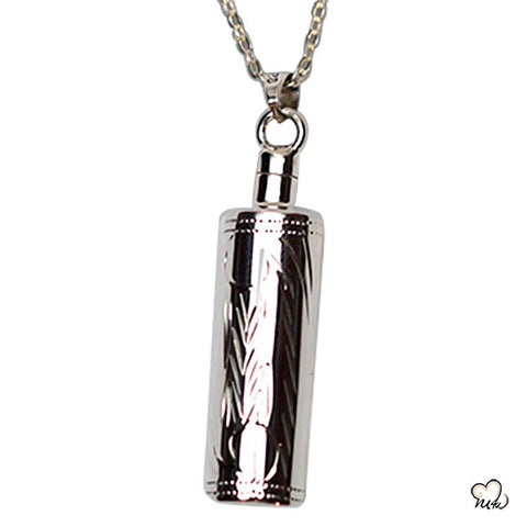 Silver Etched Cylinder Cremation Jewelry Pendant for Ashes