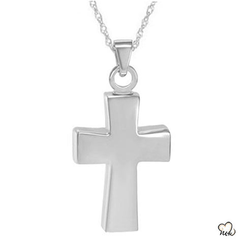 Cross Cremation Keepsake Pendant Jewelry for Ashes in Polished Sterling Silver