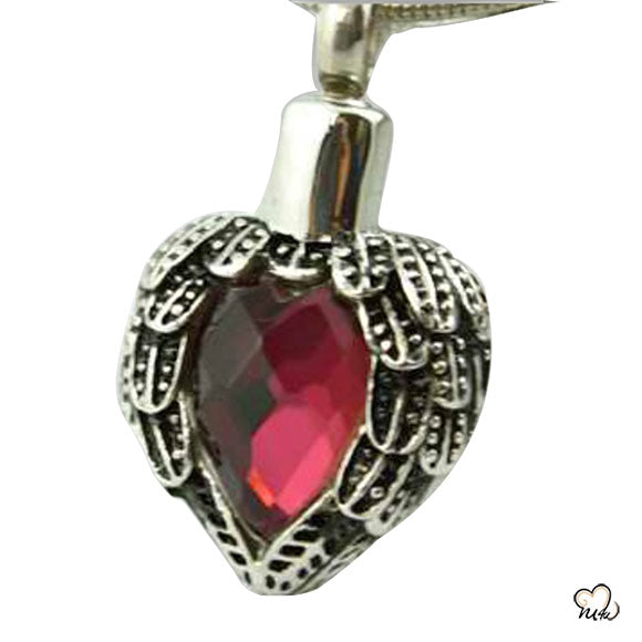 Red Heart Silver Keepsake Cremation Pendant Jewelry for Ashes