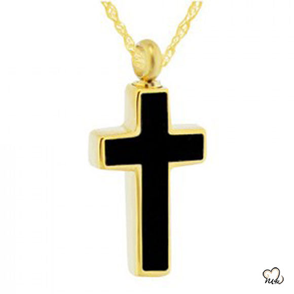 Elegant Black Cross Cremation Jewelry - Gold Plated