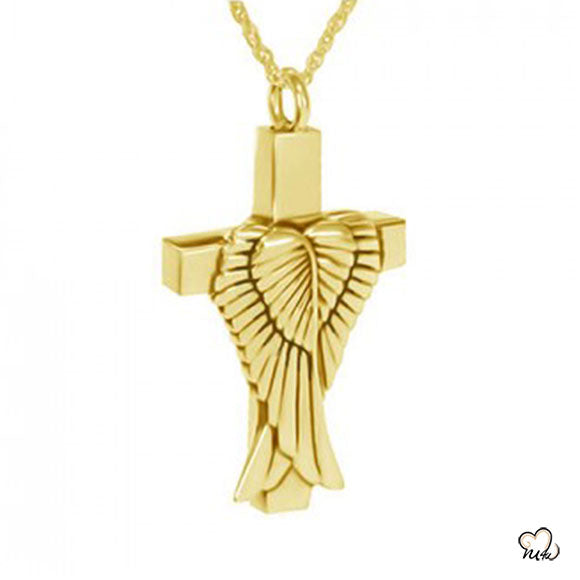 Angel Wings Cremation Jewelry - Gold Plated