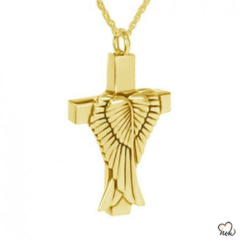 Angel Wings Cremation Jewelry - Gold Plated, Cremation Pendant - Memorials4u