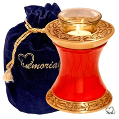 Baroque Red Tealight Cremation Urn, Tealight Urn - Memorials4u