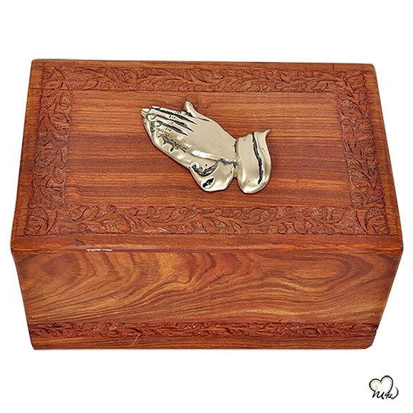 Wooden Urns - Praying Hands Wooden Urns for Ashes - Solid Rosewood  Wood Cremation Urn - Hand Carved Design Wooden Urn for Adult Ashes