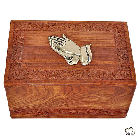 Praying Hands Solid Rosewood Urn for Ashes