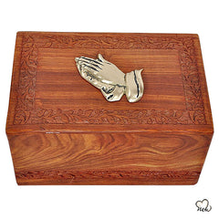 Solid Rosewood Cremation Urn - Border Hand Carved Design with Brass Praying Hand