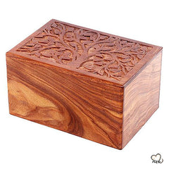 Solid Rosewood Cremation Urn - Real Tree Design