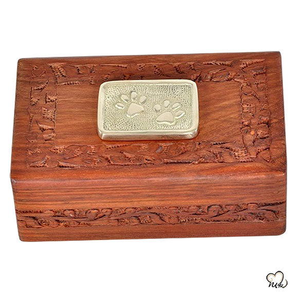 Pet Urn with Solid Rosewood Handcarved Design & Brass Paw Applique Inlaid - Small