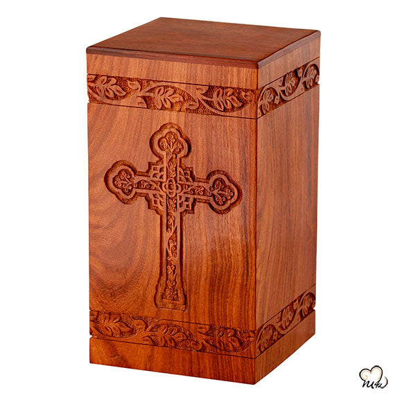 Solid Rosewood Cremation Urn with Engraved Cross