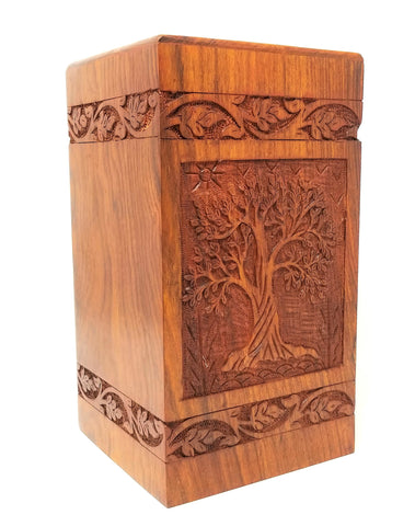 Soulful Tree Wooden Urn for Ashes Designed in Solid Rosewood