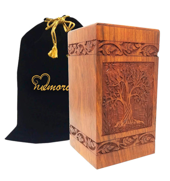 Soulful Tree Design Wooden Urns For Ashes Solid Rosewood Hand Carved Design Wood Cremation Urn
