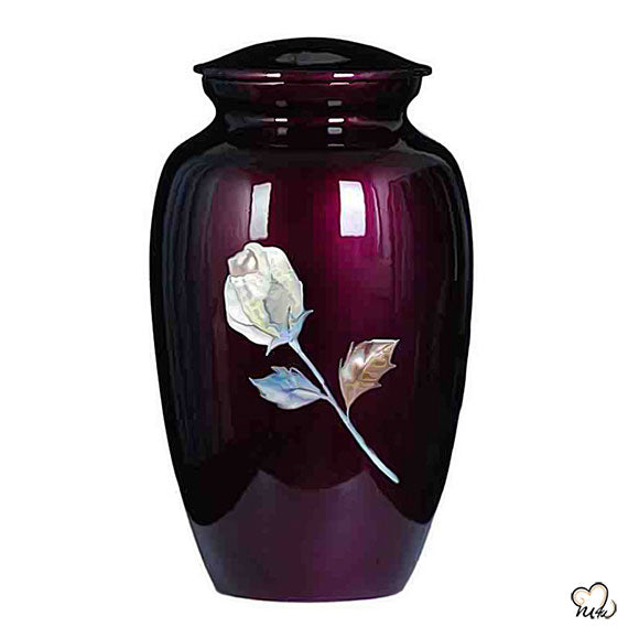 Imperial Rose Mother of Pearl Cremation Urn, Hand Painted Cremation Urn - Memorials4u