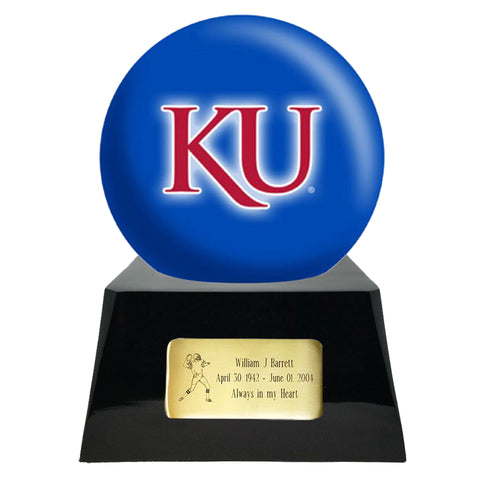Football Urn - Kansas Jayhawks Ball Decor with Custom Metal Plaque Football Cremation Urn for Human Ashes - NFL URN - Memorials4u