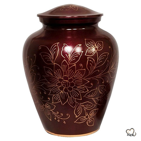 Large Crimson Floral Alloy Cremation Urn