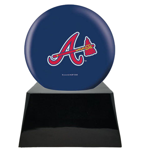 Baseball Cremation Urns For Human Ashes - Baseball Team Cremation Urn and Atlanta Braves Ball Decor with custom metal plaque - Memorials4u