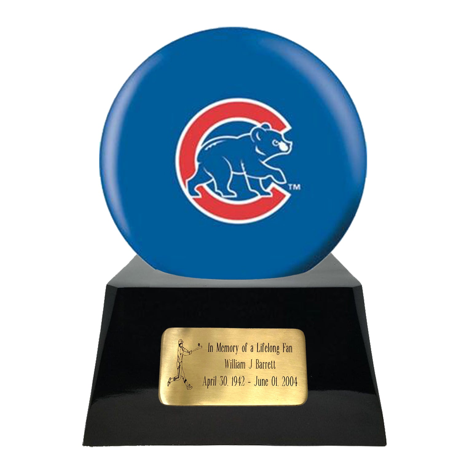 Baseball Cremation Urns For Human Ashes - Baseball Team Cremation Urn and Chicago Cubs Ball Decor with custom metal plaque - Memorials4u data-image-id=