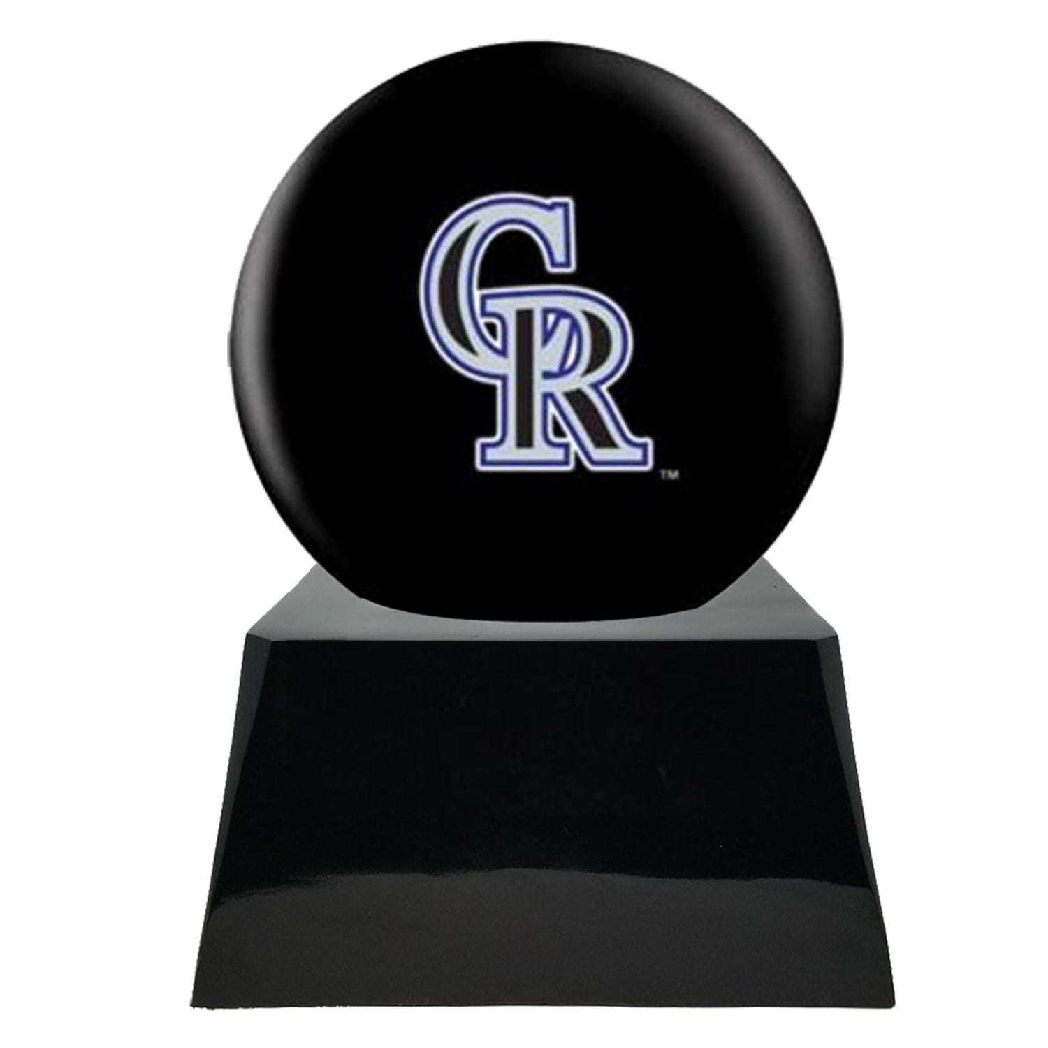 Baseball Team Urn - Colorado Rockies Ball Decor with Custom Metal Plaque Baseball Cremation Urn for Human Ashes - MLB URN - Memorials4u