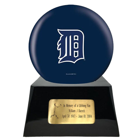 Baseball Team Urn - Detroit Tigers Ball Decor with Custom Metal Plaque Baseball Cremation Urn for Human Ashes - MLB URN - Memorials4u