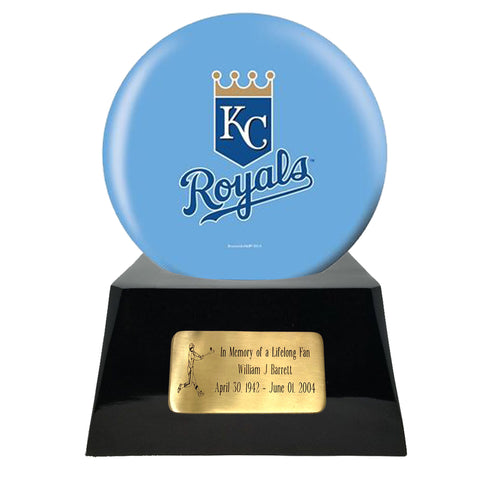 Baseball Cremation Urn with Optional Kansas City Royals Ball Decor and Custom Metal Plaque