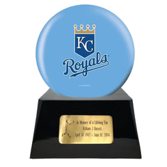 Baseball Cremation Urns For Human Ashes - Baseball Team Cremation Urn and Kansas City Royals Ball Decor with custom metal plaque - Memorials4u