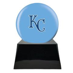 Baseball Team Urn - Kansas City Royals Ball Decor with Custom Metal Plaque Baseball Cremation Urn for Human Ashes - MLB URN - Memorials4u