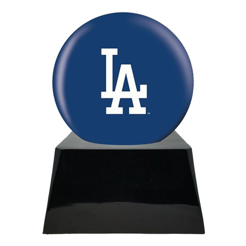 Baseball Cremation Urn with Optional Los Angeles Dodgers Ball Decor and Custom Metal Plaque