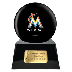 Baseball Cremation Urns For Human Ashes - Baseball Team Cremation Urn and Miami Marlins Ball Decor with custom metal plaque - Memorials4u