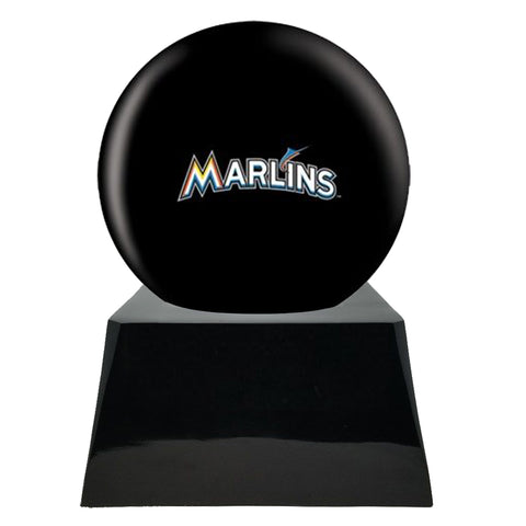 Baseball Cremation Urn with Optional Miami Marlins Ball Decor and Custom Metal Plaque