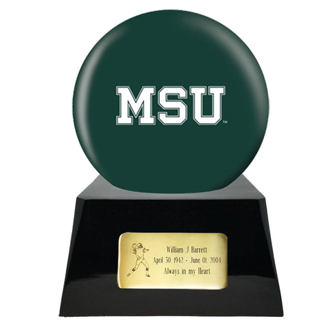 Football Urn - Michigan State Spartans Ball Decor with Custom Metal Plaque Football Cremation Urn for Human Ashes - NFL URN - Memorials4u