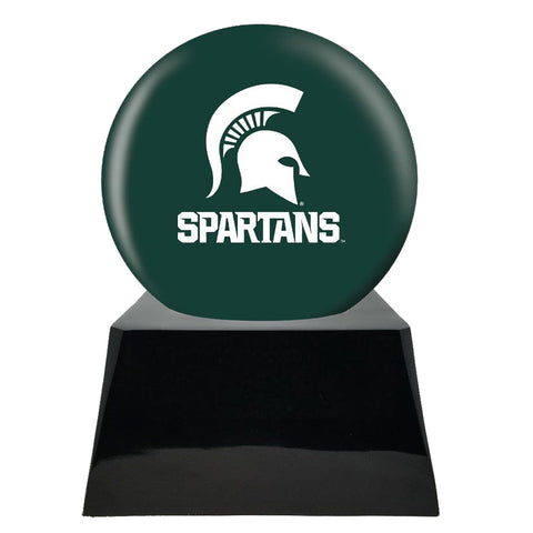 Football Cremation Urns For Human Ashes - Football Team Cremation Urn and Michigan State Spartans Ball Decor with Custom Metal Plaque - Memorials4u