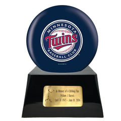 Baseball Cremation Urns For Human Ashes - Baseball Team Cremation Urn and Minnesota Twins Ball Decor with custom metal plaque - Memorials4u
