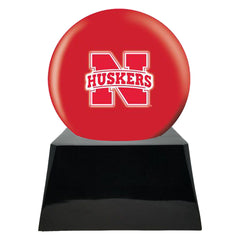 Football Cremation Urns For Human Ashes - Football Team Cremation Urn and Nebraska Cornhuskers Ball Decor with Custom Metal Plaque - Memorials4u