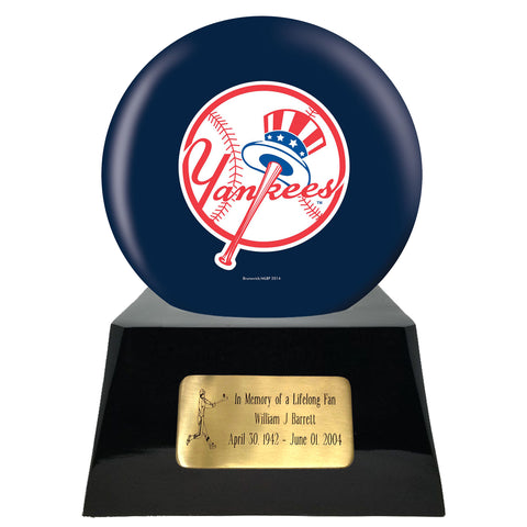 Baseball Cremation Urns For Human Ashes - Baseball Team Cremation Urn and New York Yankees Ball Decor with custom metal plaque - Memorials4u