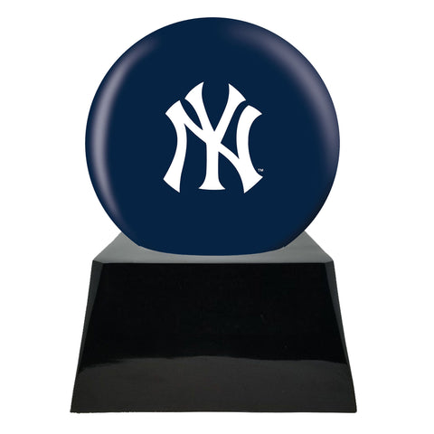 Baseball Cremation Urn with Optional New York Yankees Ball Decor and Custom Metal Plaque