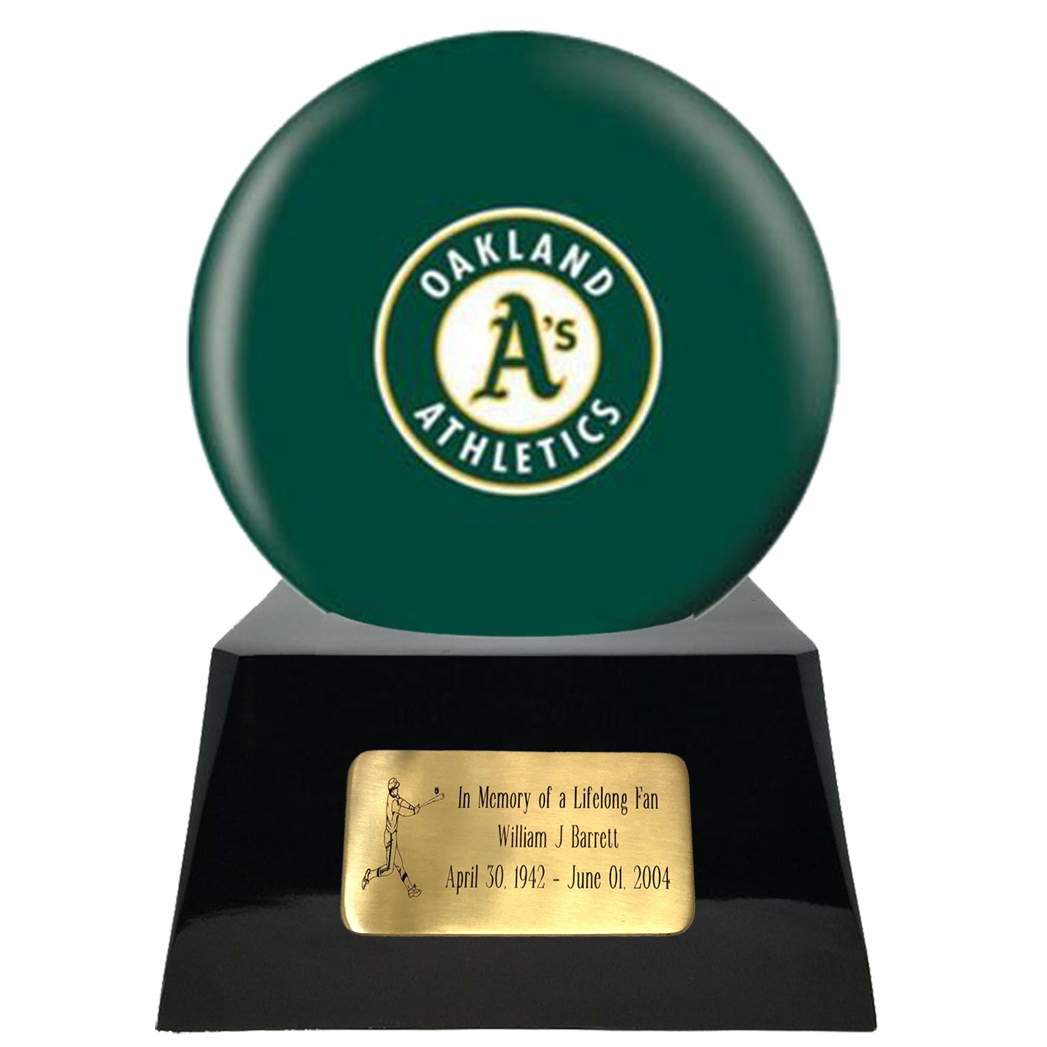 Baseball Team Urn - Oakland Athletics Ball Decor with Custom Metal Plaque Baseball Cremation Urn for Human Ashes - MLB URN - Memorials4u