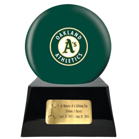 Baseball Cremation Urn with Optional Oakland Athletics Ball Decor and Custom Metal Plaque