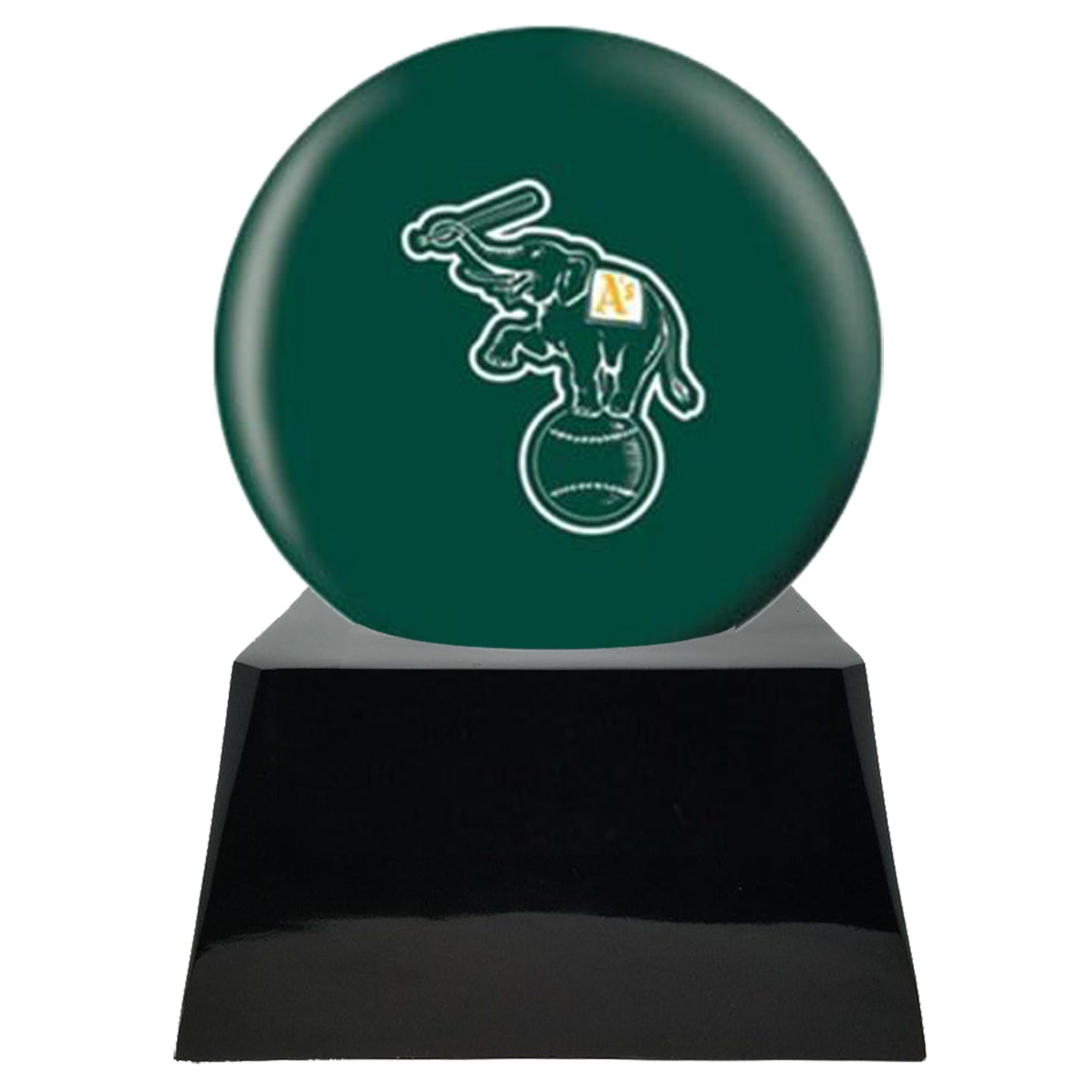 Baseball Cremation Urns For Human Ashes - Baseball Team Cremation Urn and Oakland Athletics Ball Decor with custom metal plaque - Memorials4u