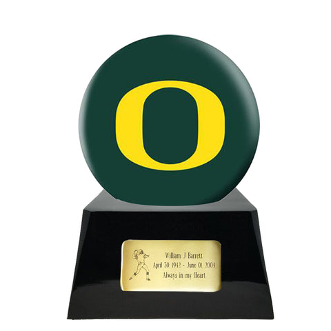 Football Cremation Urn with Optional Oregon Ducks Ball Decor and Custom Metal Plaque