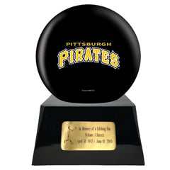 Baseball Team Urn - Pittsburgh Pirates Ball Decor with Custom Metal Plaque Baseball Cremation Urn for Human Ashes - MLB URN - Memorials4u
