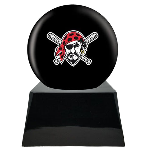 Baseball Cremation Urn with Optional Pittsburgh Pirates Ball Decor and Custom Metal Plaque