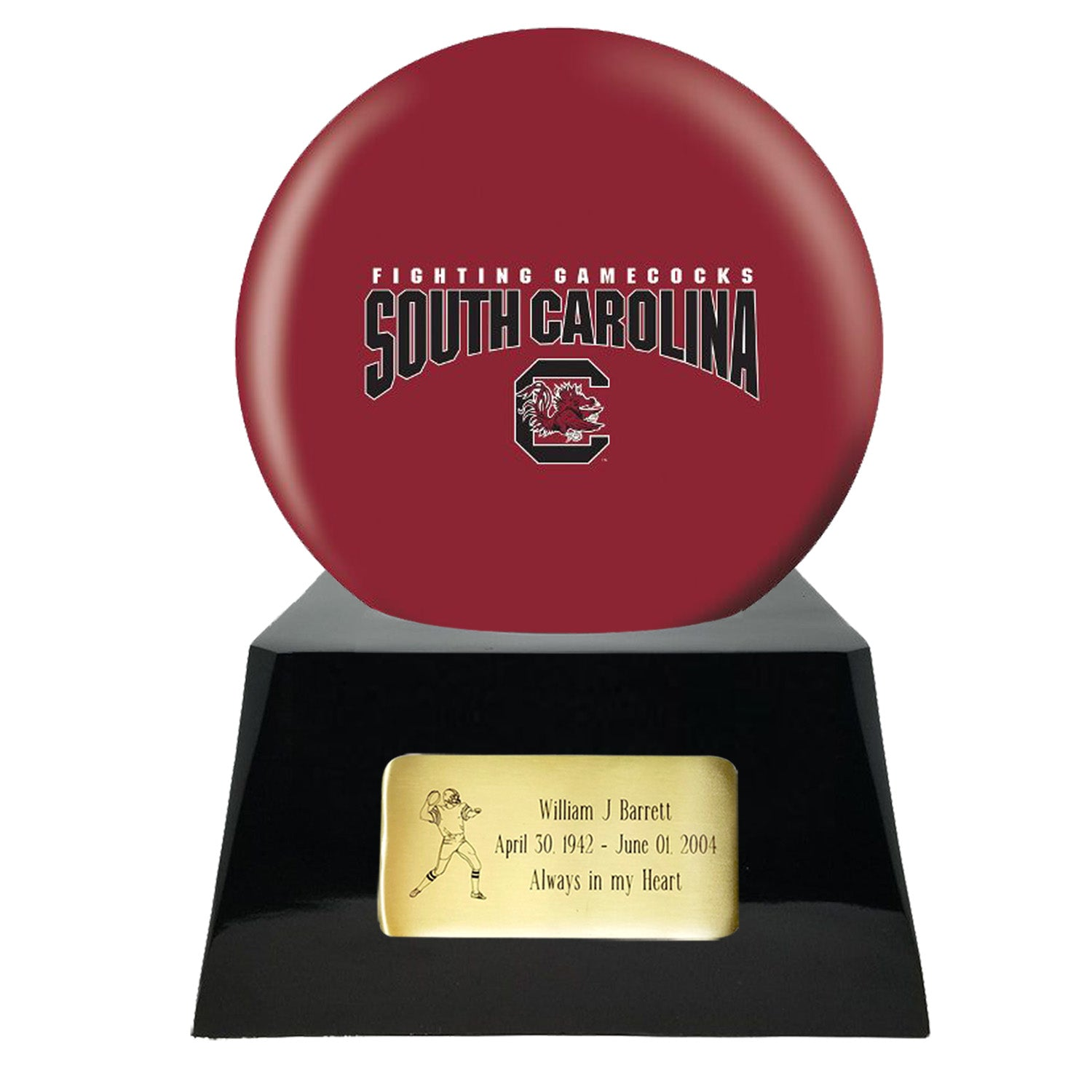 Football Urn - South Carolina Gamecocks Ball Decor with Custom Metal Plaque Football Cremation Urn for Human Ashes - NFL URN - Memorials4u